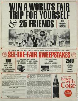 1964 Coca Cola World's Fair Sweepstakes